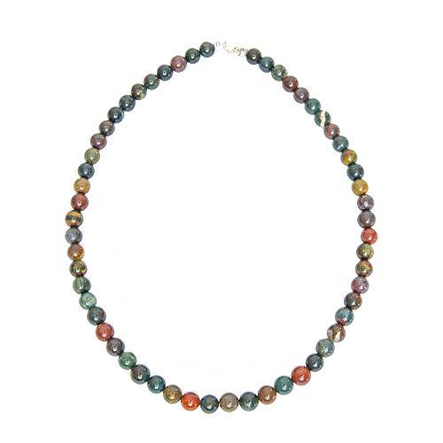 France Minéraux Necklace Jasper Heliotrope Ball Stones 8 mm Yellow