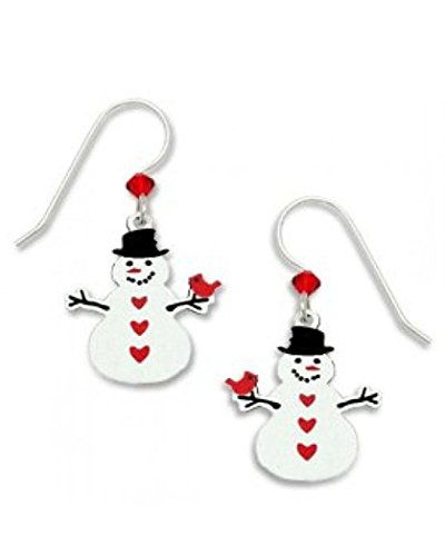 Snowman Christmas Earrings with Cardinal Holiday Made in the USA by Sienna Sky 1411