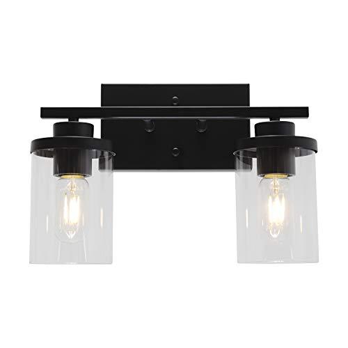 ELUZE 2-Light Bathroom Vanity Light Fixtures, Modern Wall Lighting with Clear Glass Shade, Black Finished Bathroom Lighting , Porch Wall Lamp for Mirror, Bedroom, Hallway, Bathroom Dressing
