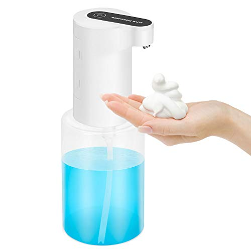 Dispensador de Jabón Manos Automático, 350ml Dispensador de Espuma Jabón Manos sin Contacto Dispensador de Jabon Liquido con Sensor de Infrarrojo para Baño Cocina Hogar, Blanco