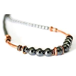 Art Deco Copper Hematite Gemstone Protection Necklace