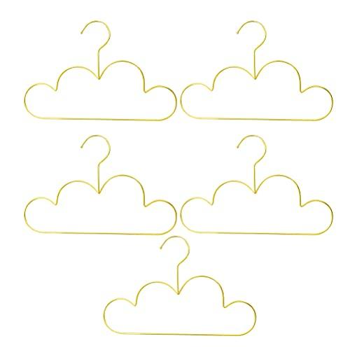 YMJTLTU 5 perchas para niños en forma de nube, bonitas perchas de metal, resistentes al viento, abrigos para niños, organizador de ropa de bebé (color oro)