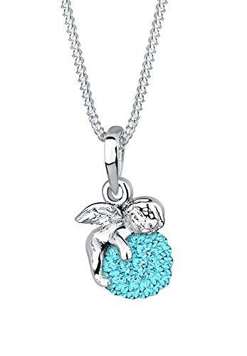 Elli Halskette Damen Engel Kugel Anhänger Schutzengel Talisman mit Swarovski® Kristallen in 925 Sterling Silber
