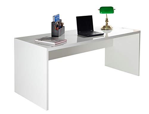 Amazon Marke - Movian - Schreibtisch, 180 x 72,5 x 69cm, Hochglanz Weiß