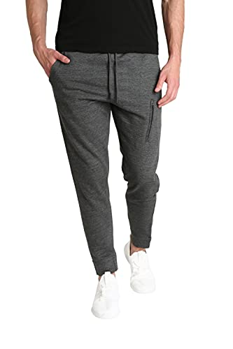 LOUNGEHERO Pantalones de Chándal de Forro Polar para Hombre Pantalones