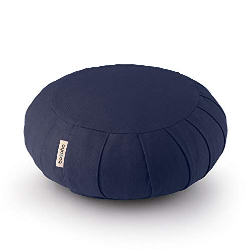 basaho Classic Zafu Coussin de Méditation   Coton Bio (certifié GOTS)   Coques de Sarrasin   Housse Amovible et Lavable (Bleu Nuit)
