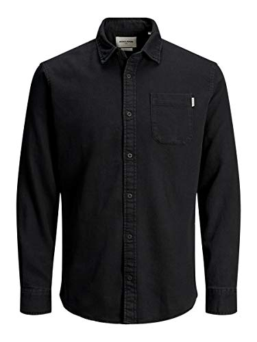 JACK & JONES Herren JCOPERTH Shirt LS ONE Pocket Jeanshemd, Grau (Asphalt Fit:/ Slim), Medium (Herstellergröße: M)