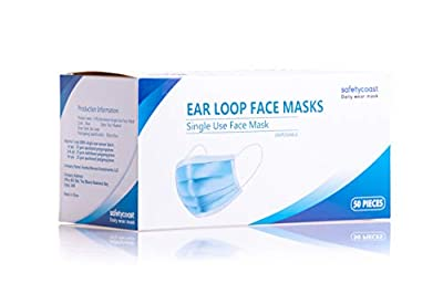 SAFETYCOAST 3-ply Disposable Ear Loop Face Masks, 50 pcs, Breathable, Non-woven Fabrics, Blue Color by Excelsa Bevcan Investments LLC
