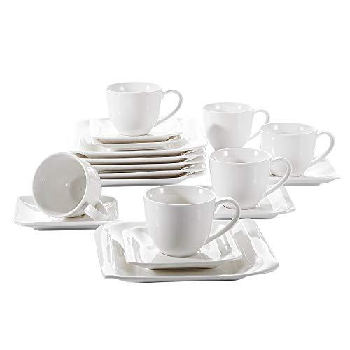 vancasso, série Cloris, Service de Table en Porcelaine Blanche, Assiette Plate, Soucoupe, Tasse à Café pour 6 Persones