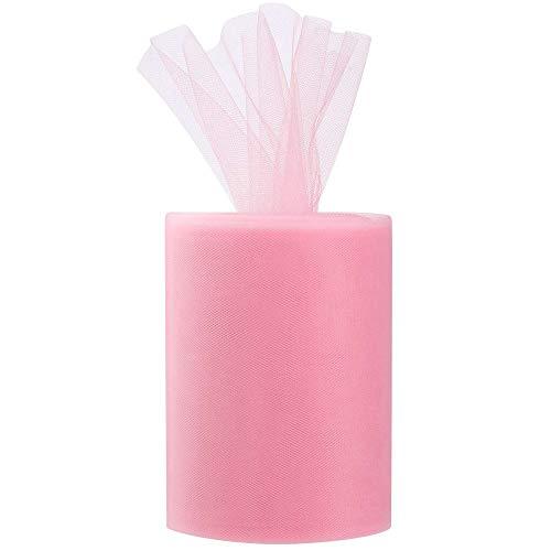 Gobesty Rollo de tul rosa, Tulle Roll Baby Pink 15cm de ancho, Pink Tulle Rolls 100 Yardas, Tela de tul rosa para falda de tutú, manualidades de bricolaje, decoraciones de boda (300 pies / 1 rollo)