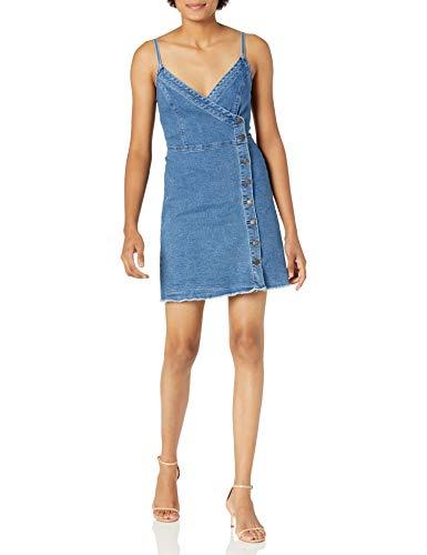 GUESS Women's Denim Asymmetric Closure Mini Dress, Spring Showers WASH, Small Maryland