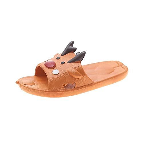 MDCGL Piscina Slide Zapatilla BañO Zapatillas de baño para el baño en casa de Verano para Mujer,Sandalias Unisex con Chanclas de Dibujos Animados para Interiores y Exteriores Naranja EU36