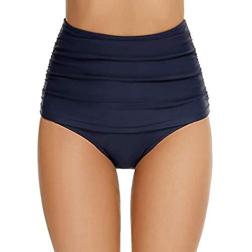 Lazzboy Badeshorts Frauen Bikini-Badehose Mit Hoher Taille Shorts Bottom Badeanzug Badebekleidung Baden Damen Badehose Schwimmshorts Wassersport Boardshorts Schwimmhose S-2XL (Blau,XL)
