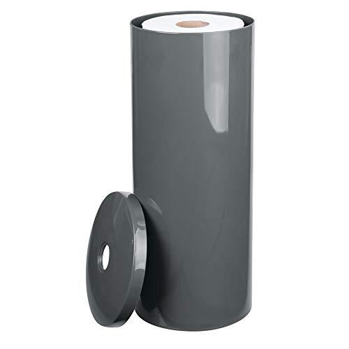mDesign Toilettenpapierhalter stehend - eleganter Klopapierhalter mit Deckel für bis zu 3 Rollen - Toilettenrollenhalter aus schiefergrauem Kunststoff - ideal für kleine Räume
