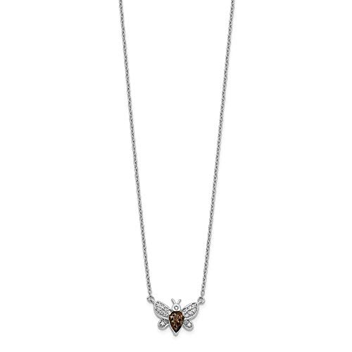 14k White Gold Diamond Smokey Quartz Bee 18 Inch Chain Necklace Pendant Charm Gemstone Animal Insect Fine Jewellery For Women Gifts For Her