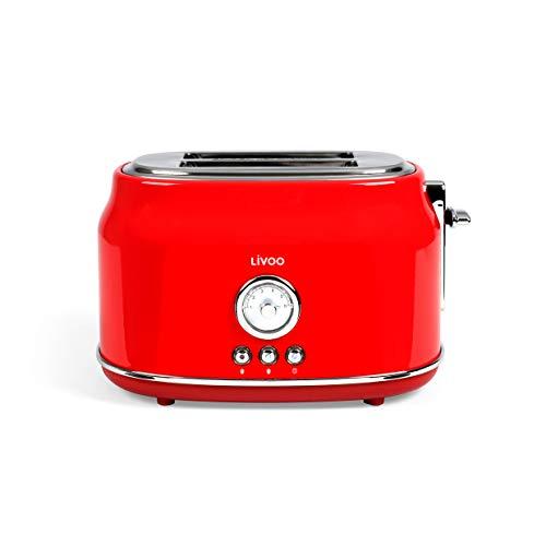 Livoo DOD181R - Tostadora vintage de acero inoxidable, 2 ranuras, aspecto retro, color rojo | Termostato de 6 niveles, calentamiento y descongelación | 815W