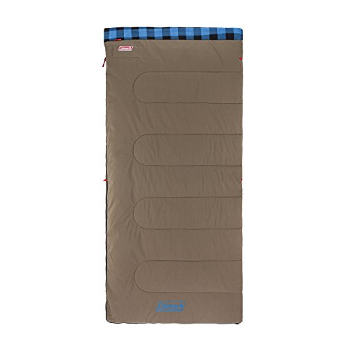 Coleman Autumn Trails Big & Tall Adult Sleeping Bag (30 Degrees), Brown and Blue pattern