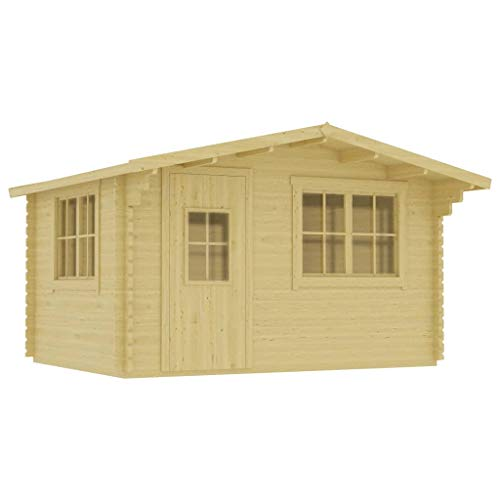 vidaXL Solid Pinewood Log Cabin 44m Outdoor Structures Heavy Duty Garden Firewood Storage Shed Wooden Tool House Organiser Log Timber Cabin