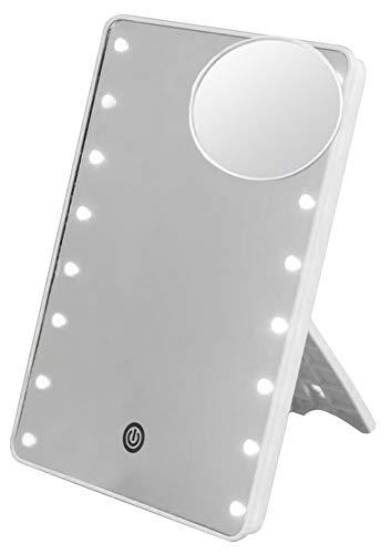 Bingo-Shop Kosmetikspiegel mit LED Licht Tischspiegel mit 10x Vergrößerung Rasierspiegel Schminkspiegel Beleuchtet mit Bleuchtung und Dimmbarer Helligkeit für Schminken Rasieren Gesichtspflege