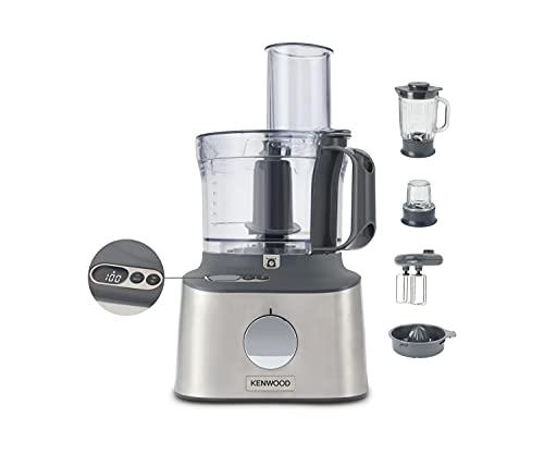 Kenwood Multipro Compact Procesador Robot de Cocina, Bol de 1,2L, Batidora de Vaso de 1,2L, Gancho para Amasar, Varillas, Discos para Cortar y Rallar, Molinillo de Especias, 800 W, FDM313S, Plata