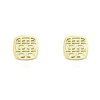 Golden Letter Stud Earrings for Women Wedding Chinese Marriage Character Earrings