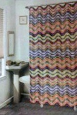 rainbow wavy lines / stripes shower curtain