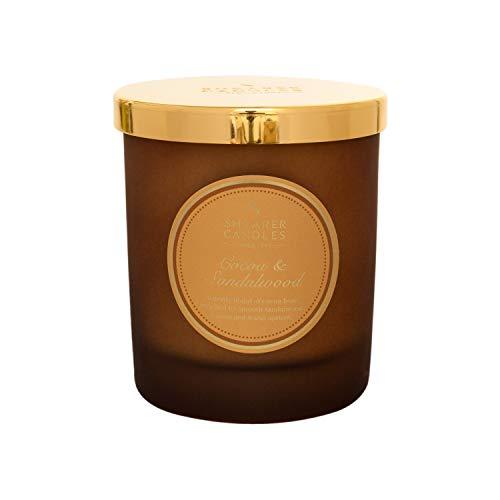 Shearer Candles - Vela aromática en Tarro de Cacao y sándalo, Mecha de algodón, Fragancia y aceites Esenciales, Color Dorado, Blanco, 20 cl