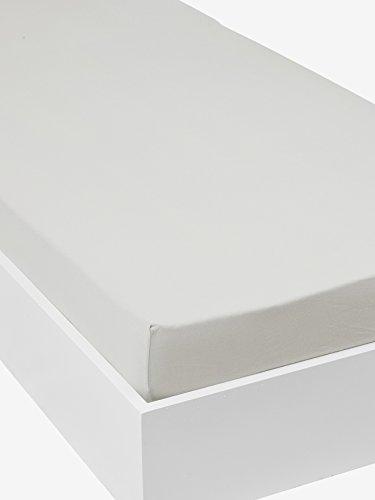 Vertbaudet Kinder-Spannbettlaken aus dehnbarem Jersey, unifarbig, grau, 90 x 190