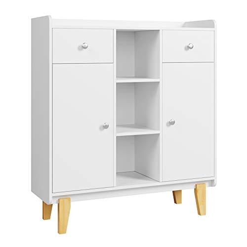Homfa Kommode Sideboard Bücherschrank mit 2 Schubladen 2 Türen 3 Fächern Highboard Anrichte Schrank weiß 100 x 35 x 115 cm