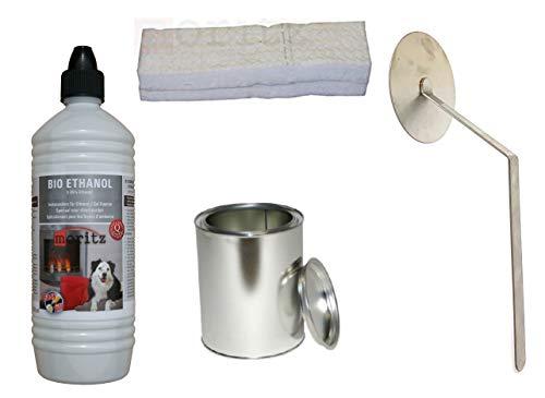 Moritz Starter Set 1 x 1000 ml Bio Ethanol + 1x Blechdose 250 ml mit Deckel + 1x Watte/Keramikwolle + 1x Flammenkiller für Brenner Kamin Ofen Sicherheitsbrenner Brennpaste