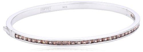 ESPRIT Collection Damen-Armreif 925 Sterling Silber rhodiniert Glas Zirkonia Perseus angularautumn braun ELBA91038C600