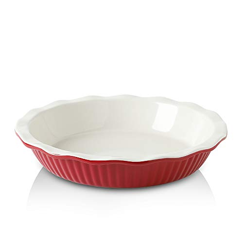 KOOV Ceramic Pie Pan, 9 Inches Pie Plate, Pie Dish for Dessert Kitchen, Round Baking Dish for Dinner (Cherry)