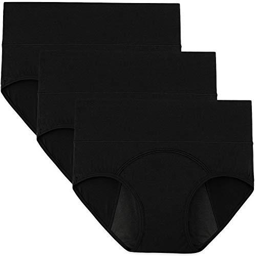 INNERSY Mujeres Bragas Período Menstruales de Cintura Alta de Algodón Protección Ropa Interior Pack de 3(S-EU 38, 3 Negro)