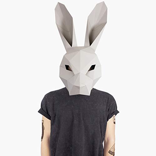 Maske Hase Kaninchen   Masken der Tiere   Halloween Maske Kostüm   Pappe   Masken Basteln   Maske Herren, Damen, Kinder  Maske für Halloween, Fasching, Karneval, Party Kostüm, Cosplay