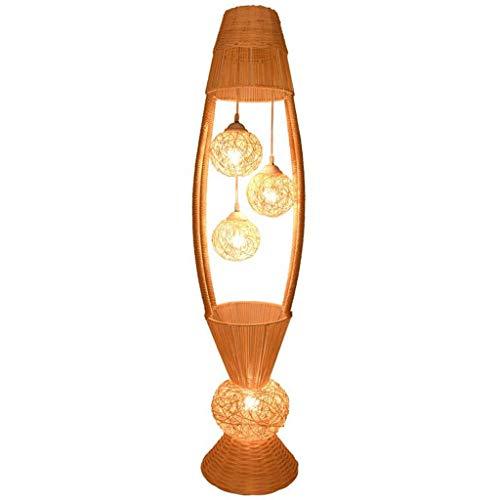 WYFX Lámparas de pie Mimbre Ratán Flor Sombra Lámpara de pie Accesorio Arte rústico Soporte de Noche Luz Vestíbulo para Dormitorio Lámpara de pie Led
