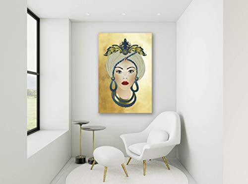 Quadri Moderni, Stampa su Tela Canvas, Testa di Moro Donna, Inserti Blu Ottanio su Sfondo Oro. 60 x 90cm. Fine Art Design Made in Sicily.