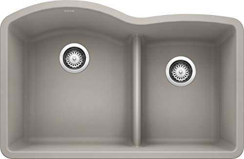 Blanco DIAMOND Undermount Granite Composite 32 in. 60/40 Double Bowl Kitchen Sink with Low Divide in Concrete Gray