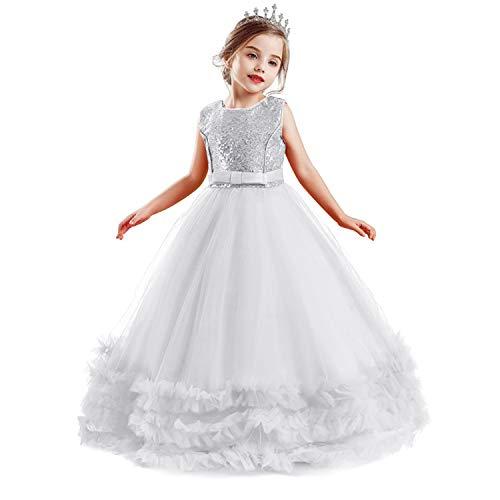 NNJXD Mädchen ärmellose Blume Prinzessin Pailletten Festzug Kleider Kinder Prom Ballkleid Größe (140) 8-9 Jahre 705 Weiß-A