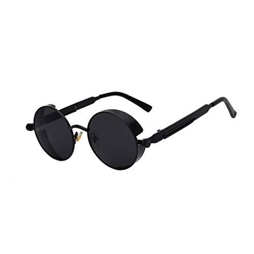 Óculos de Sol Redondo Detalhes Parafusos e Molas com Proteção Lateral Steampunk Vintage Retro Masculino Feminino Escuro Proteção UV400 Preto