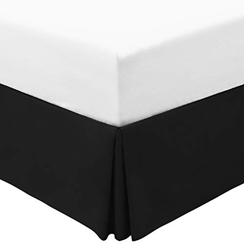 Mellanni Bed Skirt King Size - 15-Inch Tailored Drop Pleated Dust Ruffle - 1800 Double Brushed Microfiber Bedding - Easy Fit, Wrinkle, Fade, Stain Resistant (King, Black)