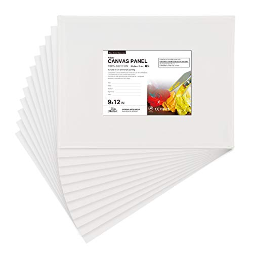 PHOENIX Artist Painting Canvas Panels - 9x12 Inch / 12 Pack - Triple Primed Cotton Canvas Boards for Oil & Acrylic Painting