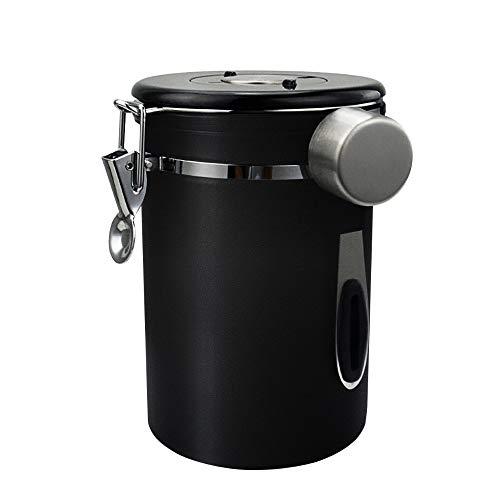 コーヒーキャニスター304ステンレス真空密封コーヒー豆茶筒お菓子糖香料日付表示ダイヤル防湿保存保存容器密封容器(黒,1800ml)