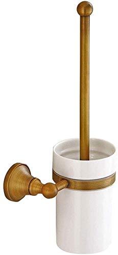 Borstel van het toilet Europese Retro Style Wall Mounted wc borstelhouder Toiletborstel Bekerhouder met koperen Construction for badkamer opberg Deep Cleaning (Kleur: Brons, Afmetingen: 16 * 36cm) 8ba