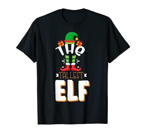 El elfo más alto Navidad Papá Noel familiar a juego de regalo Camiseta