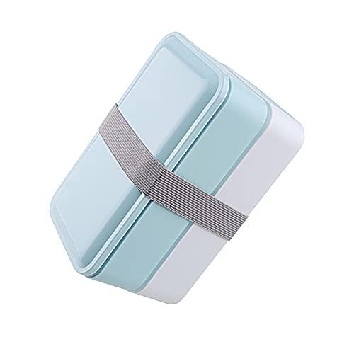 XXY 3 Colores 1000ml Caja De Doble Capa Caja De Almuerzo Almacenamiento Almacenamiento Contenedor Microondas Horno Cajas Caja De Vajilla Limpianto (Color : Sky Blue)