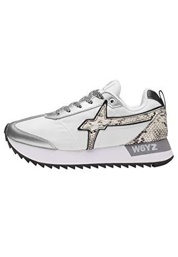 w6yz KIS W - Zapatillas con detalles de reptil, color blanco, color Blanco, talla 35 EU