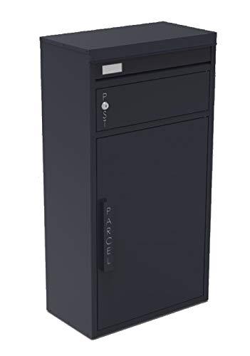 Safepost 65 TIAMAT Paketbriefkasten - mit Paketfach - Standbriefkasten - Exklusivmodell (anthrazit mit 2 Schlüssel)