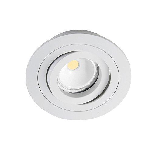 CristalRecord Helium - Kit de Spot encastrable rond, douilles et ampoule LED COB, 8 W, GU10, lumière chaude, 3000° K, couleur blanche