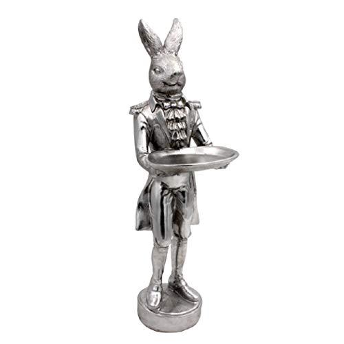 Hasenfigur Hase mit Schale Figur Butler Skulptur Dekoration Dekoobjekt