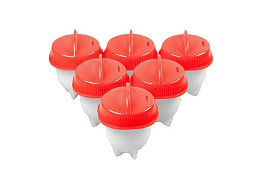 6 st. äggkokare, köksset non-stick silikon äggkoppar premium silikon ägg tillverkare för mjuka och hårda ägg utan skål 9,4 x 3 x 16,2 cm röd/vit